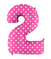 """40"""" Foil Shape Balloon Number 2 Baby Pink Dots"""