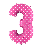 """40"""" Foil Shape Balloon Number 3 Baby Pink Dots"""