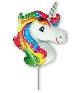 """14"""" Airfill Only Mini Shape Unicorn Rainbow Balloon"""