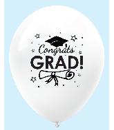 "11"" Congrats Grad Latex Balloons 25 Count White"