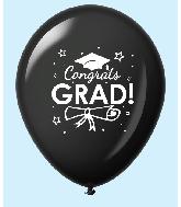 """11"""" Congrats Grad Latex Balloons 25 Count Black"""