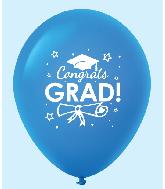 """11"""" Congrats Grad Latex Balloons 25 Count Blue"""