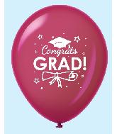 "11"" Congrats Grad Latex Balloons 25 Count Burgundy"