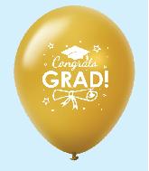 """11"""" Congrats Grad Latex Balloons 25 Count Gold"""