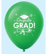 """11"""" Congrats Grad Latex Balloons 25 Count Green"""