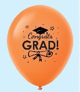 """11"""" Congrats Grad Latex Balloons 25 Count Orange"""