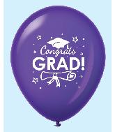 """11"""" Congrats Grad Latex Balloons 25 Count Purple"""
