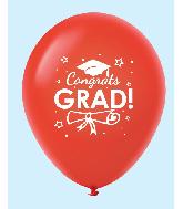 "11"" Congrats Grad Latex Balloons 25 Count Red"