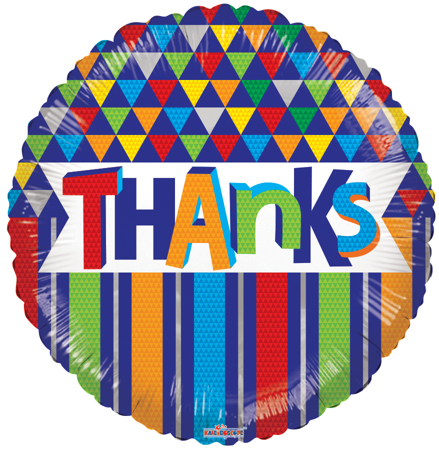 """18"""" Thanks Lines & Triangles Foil Balloon"""