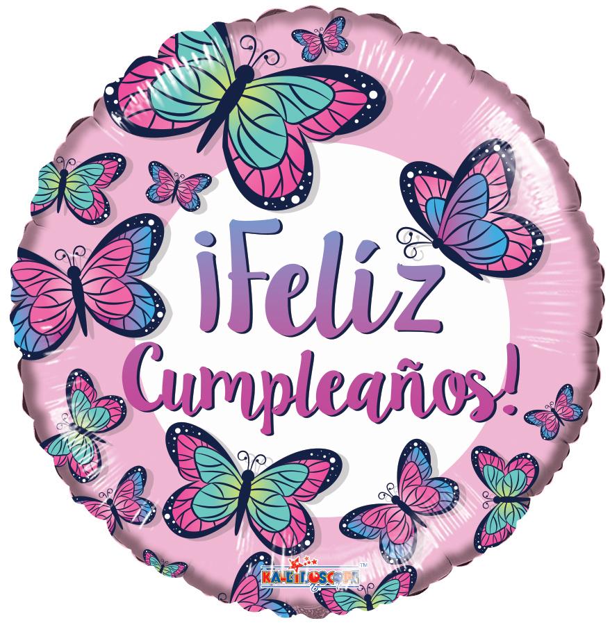 """18"""" Feliz Cumple Butterflies Foil Balloon"""