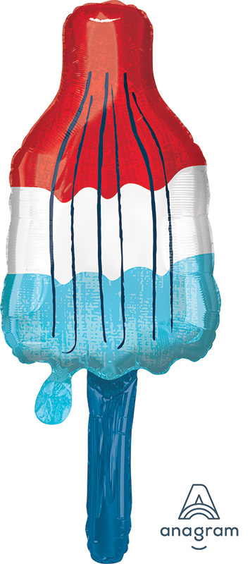 """40"""" Red, White & Blue Popsicle SuperShape™ Foil Balloon"""
