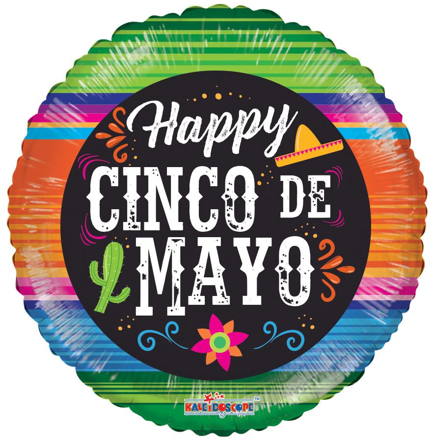 """18"""" Happy Cinco De Mayo Sarape Foil Balloon"""