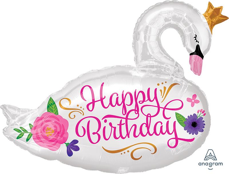 "29"" Jumbo Happy Birthday Beautiful Swan Foil Balloon"