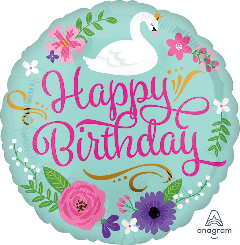 "18"" Happy Birthday Floral Swan Foil Balloon"