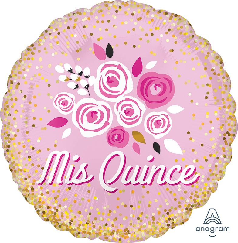 """18"""" Mis Quince Floral Crown Foil Balloon"""