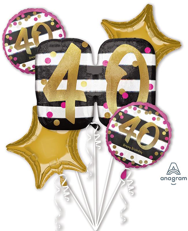 Bouquet Pink & Gold Milestone 40 Foil Balloon