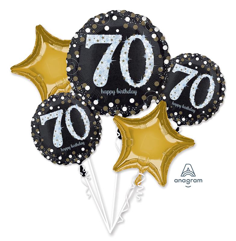 Bouquet Sparkling Birthday 70 Foil Balloon