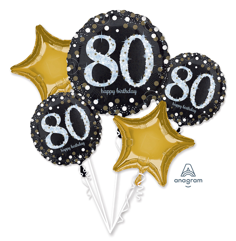 Bouquet Sparkling Birthday 80 Foil Balloon