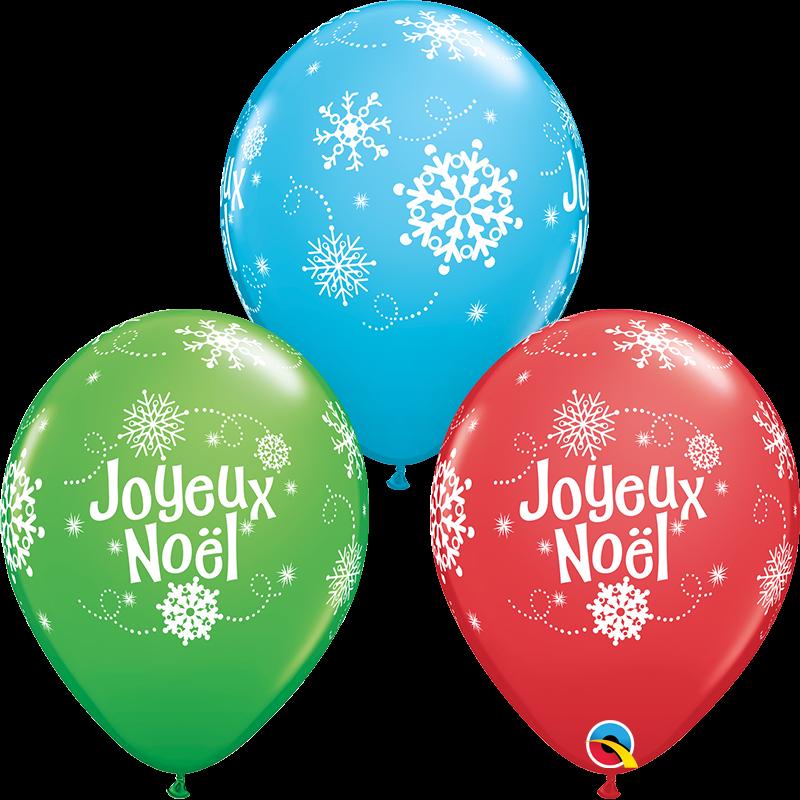 "11"" Joyeux Noel Red, Green, Lime 50 Count Latex Balloons"