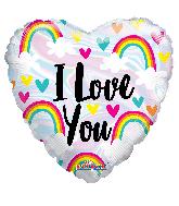 "18"" I Love You Rainbow And Hearts Foil Balloon"