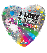"18"" I Love You More Than Unicorns Foil Balloon"