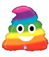 "20"" Foil Shape Emoji Rainbow Poop Foil Balloon"