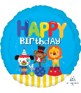 "18"" Happy Birthday Circus Fun Foil Balloon"
