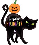 "44"" Foil Shape Halloween Black Cat Foil Balloon"
