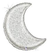 "42"" Holographic Shape Glitter Moon - Silver Foil Balloon"
