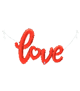 "47"" Air-filled Shape Love Script- Red Foil Balloon"