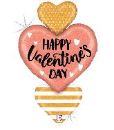 "38"" Rose Gold Valentine Heart Trio Foil Balloon"