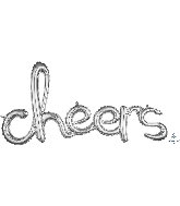"40"" Airfill Only Script Phrase ""Cheers"" Silver Foil Balloon"