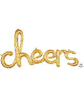 "40"" Airfill Only Script Phrase ""Cheers"" Gold Foil Balloon"