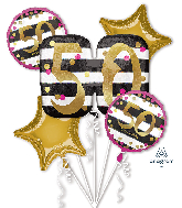 Bouquet Pink & Gold Milestone 50 Foil Balloon