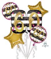 Bouquet Pink & Gold Milestone 60 Foil Balloon