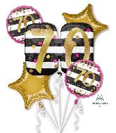 Bouquet Pink & Gold Milestone 70 Foil Balloon