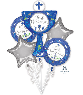 Bouquet Communion Day Boy Foil Balloon