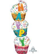 """41"""" Jumbo Birthday Stacked Cupcake Foil Balloon"""
