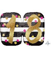 """25"""" Jumbo Pink & Gold Milestone 18 Foil Balloon"""