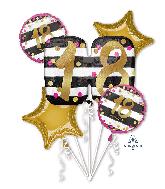 Bouquet Pink & Gold Milestone 18 Foil Balloon