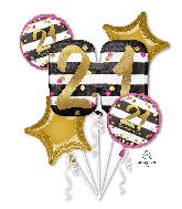 Bouquet Pink & Gold Milestone 21 Foil Balloon