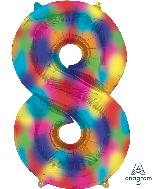 """34"""" Number 8 Rainbow Splash Foil Balloon"""