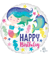 "18"" Colorful Ocean Fun Happy Birthday Foil Balloon"