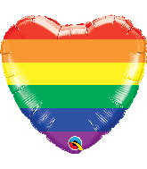 "18"" Heart Rainbow Stripes Pride Foil Balloon"