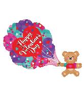 "36"" Vals Bear With Hearts Shape Gellibean Foil Balloon"