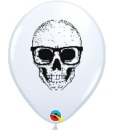 """11"""" Skull With Glasses White Balloon 50 Count"""