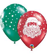 """11"""" Red, Green Santa Latex Balloons 50 Count"""