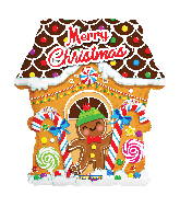 "18"" Christmas Gingerbread House Foil Balloon"