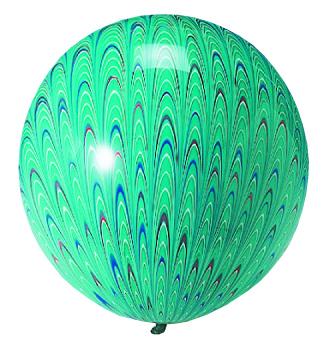 """18"""" Peacock Balloon Latex Balloon Green (5 Count)"""