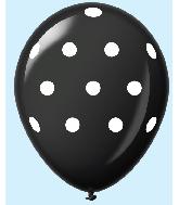 """11"""" Polka Dots Latex Balloons 25 Count Black"""
